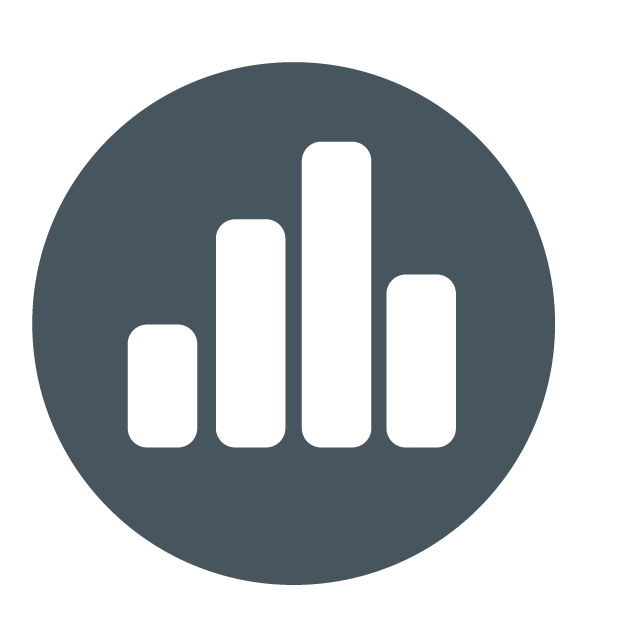 Data icon, enabled. Four grey bars arranged like a vertical bar chart.