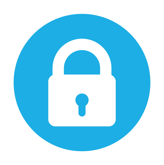 Security icon, enabled. A blue padlock, locked.